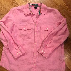 Lauren by Ralph Lauren pink linen shirt
